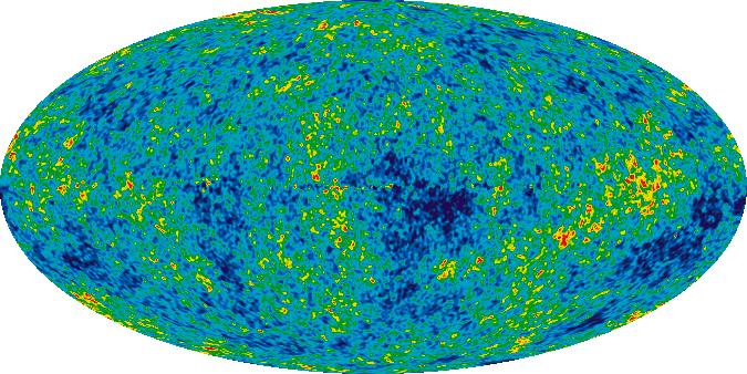 Zdjęcie wykonane przezWMAP, ukazujące młody wszechświat widziany wzakresie światła mikrofalowego. Różnice temperatur są mniejsze niż setne części stopnia.