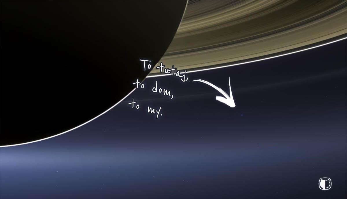 Zdjęcie Błękitnej Kropki z perspektywy Saturna
