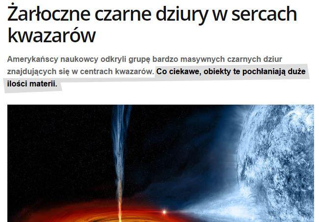 Kwazar pożera duże ilości materii. Arcyciekawostka!