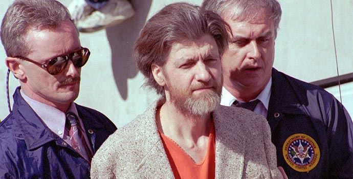 Kaczynski w momencie aresztowania