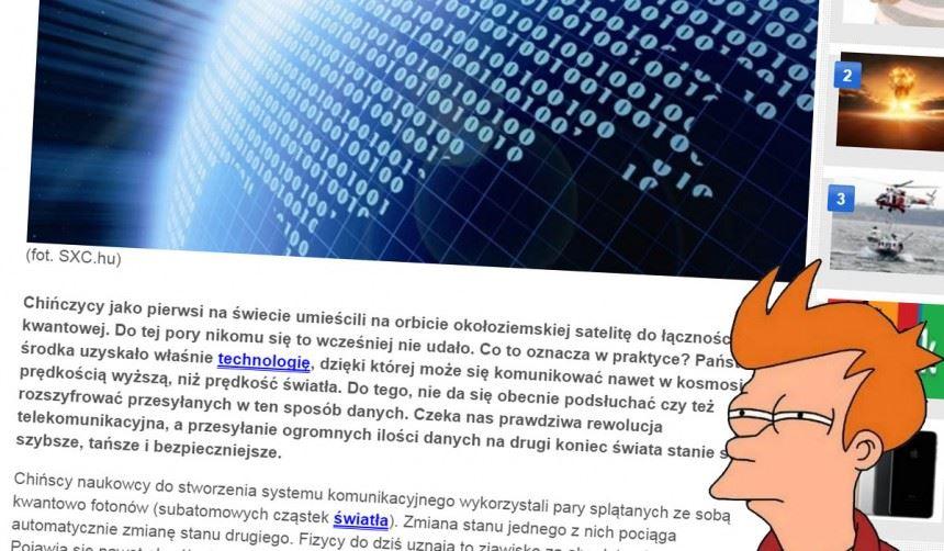 Głupota naniedzielę: kwantowe dyrdymały Wirtualnej Polski