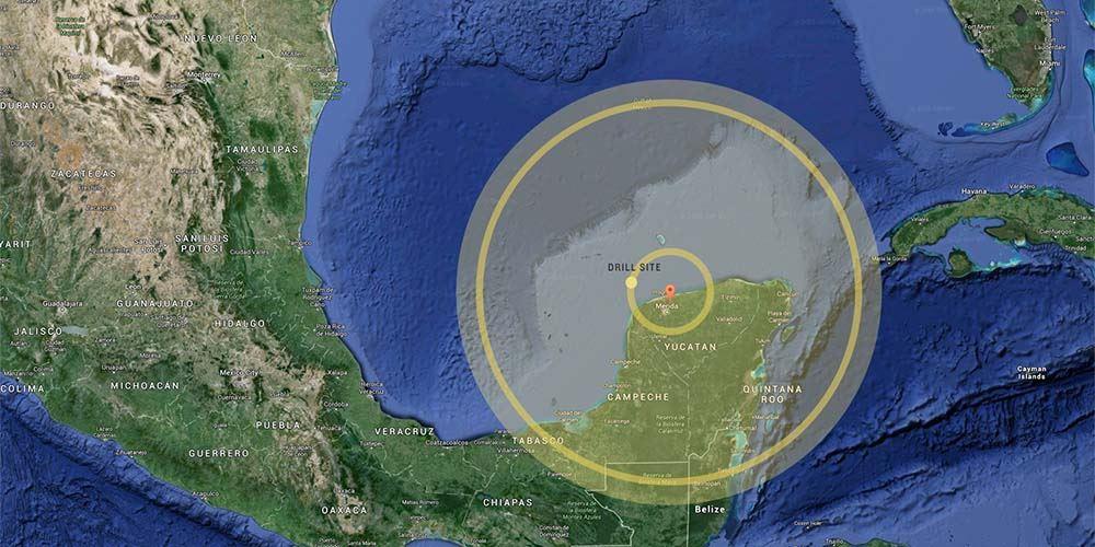 Krater Chicxulub napółwyspie Jukatan wMeksyku