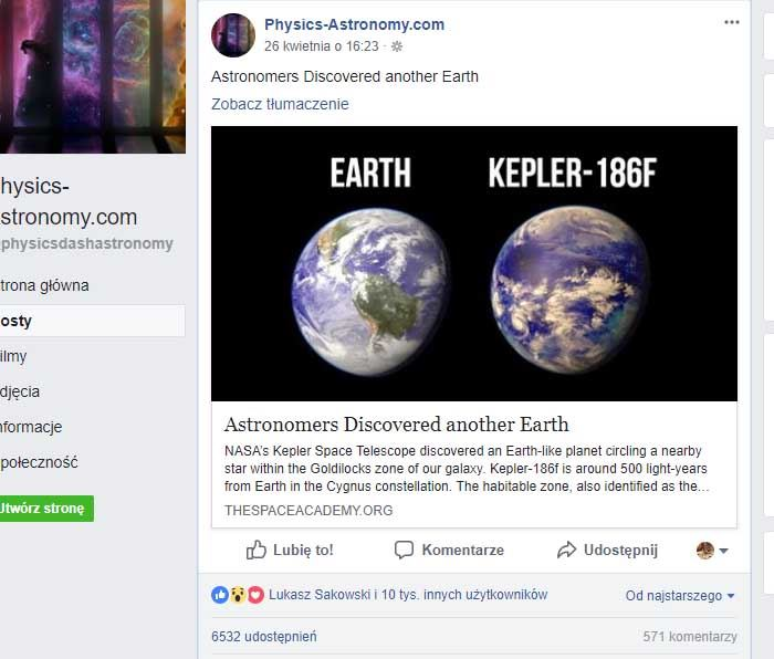 News o egzoplanecie Kepler-186f